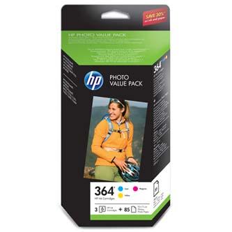 "HP originál value pack CH082EE#301, No.364, color, HP Photosmart Photo Value Pack, + foto papír, bílý, 4x6"",  10x15cm, 85 ks"