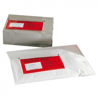 Obálka nalepovací, C5, 240 x 180mm, priehľadná, 100ks, No Name, s červenou potla