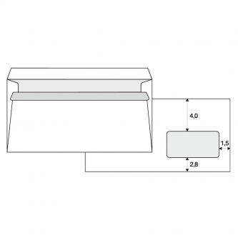 Obálka samolepiaca, 110 x 220mm, biela, 1000ks, Krpa, poštová, s DL okienkom