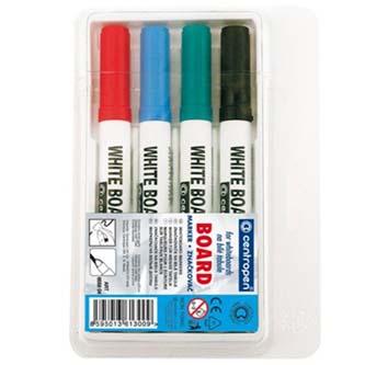 Popisovač 8559, 2.5mm, čierny, červený, modrý, zelený, 4ks,stieratelný, Centrope