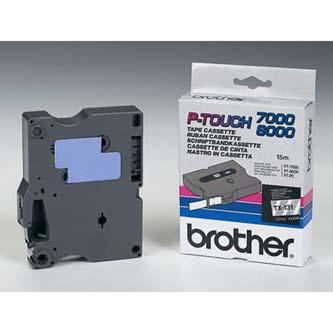 Brother originál páska do tlačiarne štítkov, Brother, TX-131, čierny tlač/priesv