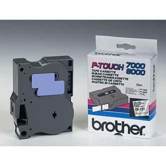 Brother originál páska do tlačiarne štítkov, Brother, TX-151, čierny tlač/priesv