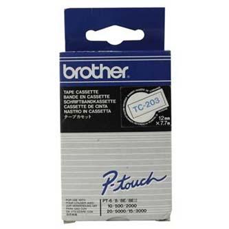 Brother originál páska do tlačiarne štítkov, Brother, TC-203, modrý tlač/biely p