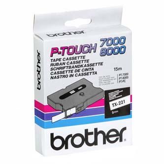 Brother originál páska do tlačiarne štítkov, Brother, TX-221, čierny tlač/biely