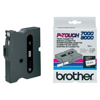 Brother originál páska do tlačiarne štítkov, Brother, TX-231, čierny tlač/biely