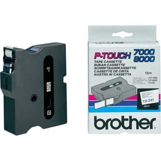 Brother originál páska do tlačiarne štítkov, Brother, TX-241, čierny tlač/biely