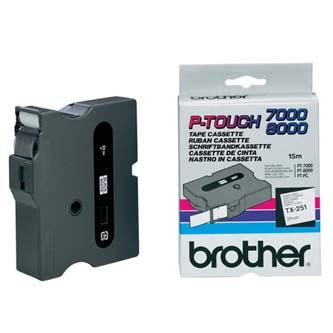 Brother originál páska do tlačiarne štítkov, Brother, TX-251, čierny tlač/biely