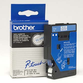 Brother originál páska do tlačiarne štítkov, Brother, TC-293, modrý tlač/biely p