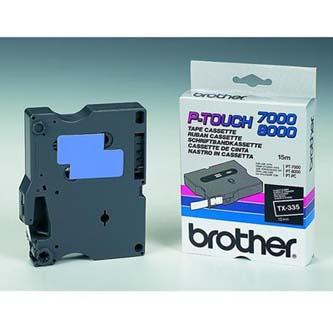 Brother originál páska do tlačiarne štítkov, Brother, TX-335, biely tlač/čierny
