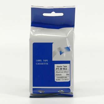 Master tape kompatibil páska do tlačiarne štítkov, pre Brother, PT-M961, čierny tlač/strieborný podklad, nelaminovaná, 8m, 36mm
