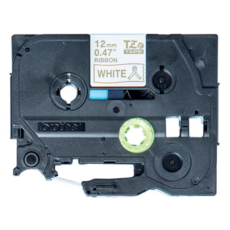 Brother originál páska do tlačiarne štítkov, Brother, TZE-R234, zlatý tlač/biely podklad, 4m, 12mm, pruhovaná