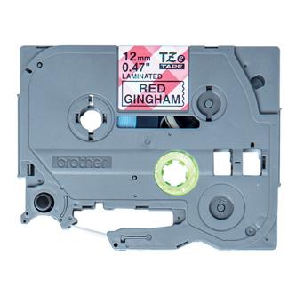 Brother originál páska do tlačiarne štítkov, Brother, TZE-MPRG31, čierny tlač/biely podklad, 4m, 12mm, červený vzor gingham