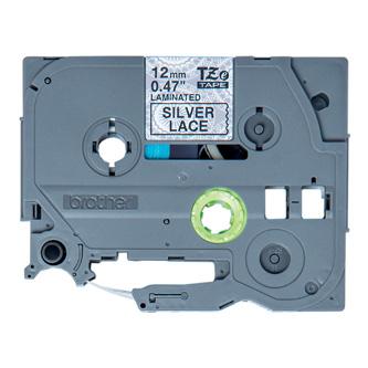 Brother originál páska do tlačiarne štítkov, Brother, TZE-MPSL31, čierny tlač/strieborný podklad, 4m, 12mm, krajkový vzor