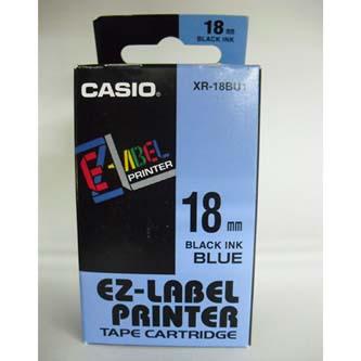 Casio originál páska do tlačiarne štítkov, Casio, XR-18BU1, čierny tlač/modrý podklad, nelaminovaná, 8m, 18mm