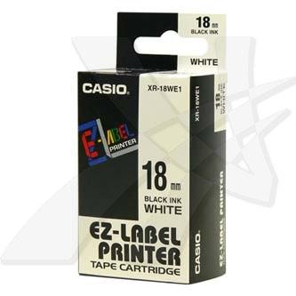 Casio originál páska do tlačiarne štítkov, Casio, XR-18WE1, čierny tlač/biely podklad, nelaminovaná, 8m, 18mm