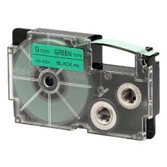 Casio originál páska do tlačiarne štítkov, Casio, XR-9GN1, čierny tlač/zelený podklad, nelaminovaná, 8m, 9mm