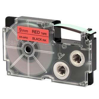 Casio originál páska do tlačiarne štítkov, Casio, XR-9RD1, čierny tlač/červený podklad, nelaminovaná, 8m, 9mm