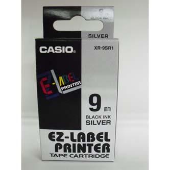 Casio originál páska do tlačiarne štítkov, Casio, XR-9SR1, čierny tlač/strieborný podklad, nelaminovaná, 8m, 9mm
