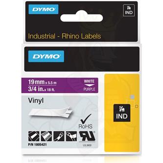 Dymo originál páska do tlačiarne štítkov, Dymo, 1805421, biely tlač/fialový podklad, 5,5m, 19mm, RHINO vinylová profi D1