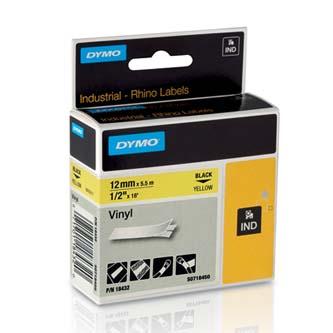 Dymo originál páska do tlačiarne štítkov, Dymo, 18432, S0718450, čierny tlač/žlt
