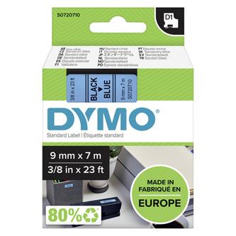 Dymo originál páska do tlačiarne štítkov, Dymo, 40916, S0720710, čierny tlač/modrý podklad, 7m, 9mm, D1