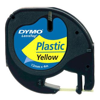 Dymo originál páska do tlačiarne štítkov, Dymo, 59423, S0721570, čierny tlač/žltý podklad, 4m, 12mm, LetraTag plastová páska