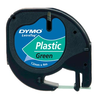Dymo originál páska do tlačiarne štítkov, Dymo, 91204, S0721640, čierny tlač/zelený podklad, 4m, 12mm, LetraTag plastová páska